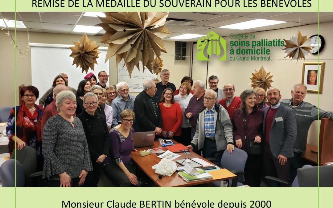 Médaille du souverain pour les bénévoles remise à M. Claude Bertin